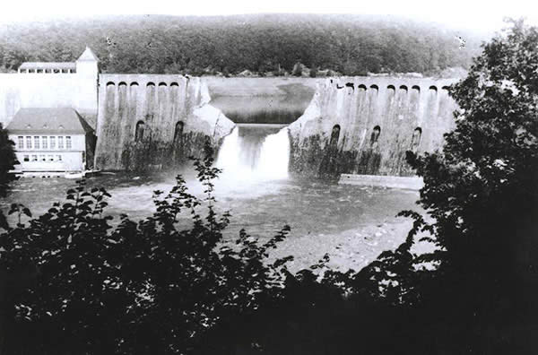 Photograph showing damage to the Eder dam