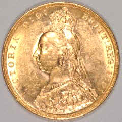 Obverse of Victoria Jubilee Head Sovereign