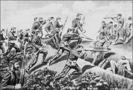 British troops storming Maori positions under the leadership of Colonel William Messenger, drawn by his son A. H. Messenger