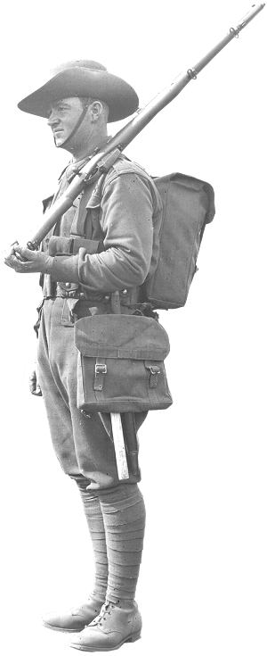 The uniform and equipment of a pre-WW1 Militia soldier.