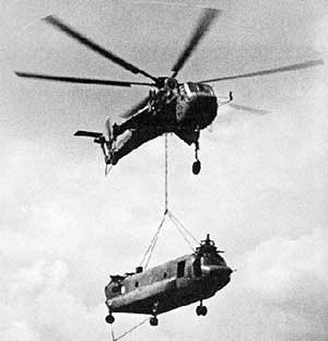 'Pipe-smoke' mission for Skycrane, recovering a CH-47 Chinook