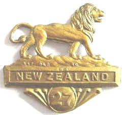 WW1 NZ 27th Reinforcements Collar Badge
