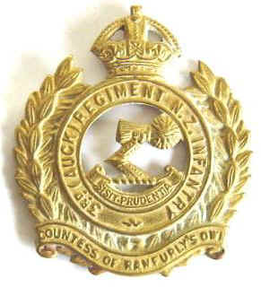 NZ 3rd Auckland Regt K/C Brass Cap Badge