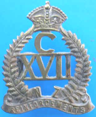 *C/XVII N.Z. REINFORCEMENTS CAP BADGE*