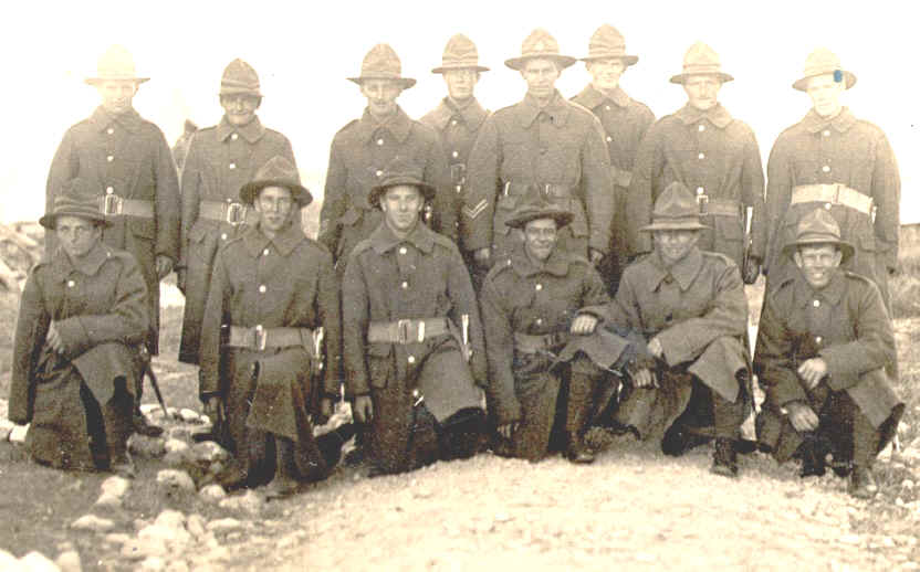 Period photographic portrait photograph of squad of First World War Kiwi
