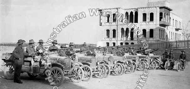 Aleppo; November 1918; The 1st Australian Light Car Patrol at Aleppo Railway Station. The men are in Model T Ford vehicles some of which have Lewis machine ... & Australian armour in WW1 made of canvas and wood markmcfarlin.com