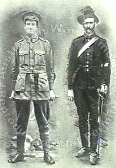 pre- war uniform) and his younger brother in First World War uniform.